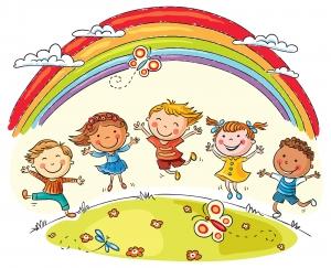 Dibujos niños saltando con arco iris