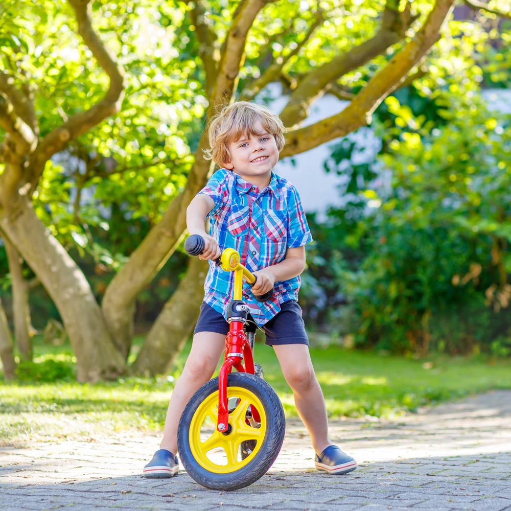 Niños con bicicleta en el parque