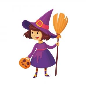 Dibujo infantil de una bruja para trabalenguas