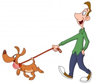 dibujo infantil de chico paseando a un perro