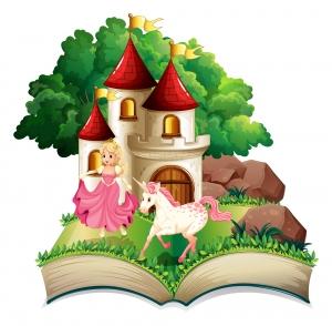 Libro de cuentos de princesas y unicornios abierto