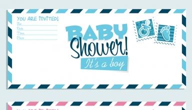 Invitaciones para fiesta de Baby Shower en rosa y azul, niña o niño